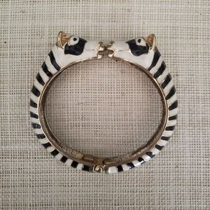 Zebra head enamel bracelet